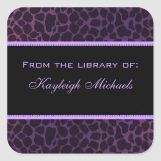 Purple Giraffe Bookplate Personalized Stickers