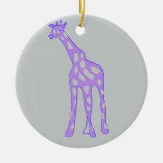 PURPLE Giraffe Ceramic Ornament