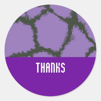 Purple Giraffe Fur Pattern Round Stickers