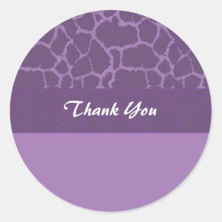 Purple Giraffe Fur Pattern Thank You Round Stickers