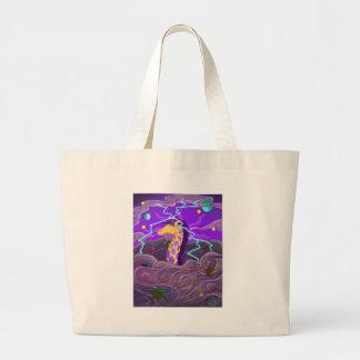 Purple Giraffe Hurricane Large Tote Bag