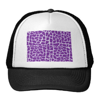 Purple giraffe pattern mosaic trucker hats