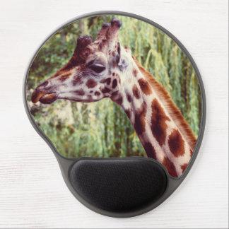 Purple Giraffe Portrait, Animal Photography Gel Mouse Pad