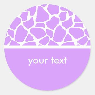 Purple Giraffe Print Custom Stickers