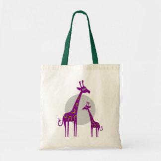 Purple Giraffes Tote Bag