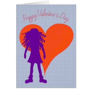Purple girl with long curly hair and big heart card