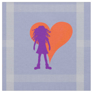 Purple girl with long curly hair and big heart fabric