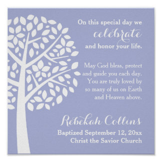 Purple Girl's Baptism Christening Prayer Blessing Poster
