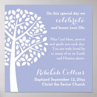Purple Girl's Baptism Christening Prayer Blessing Poster