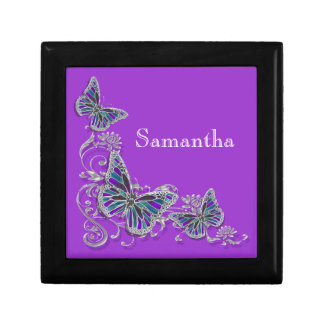 Purple girls name elegant butterfly small square gift box