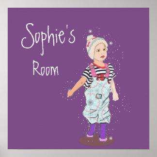 Purple  Girls room Cute  Illustration Poster