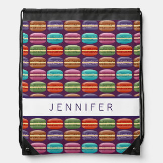 Purple Girly Glitter Macaron Cookies Drawstring Bag