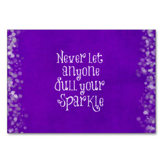 Purple Girly Inspirational Sparkle Quote Table Cards