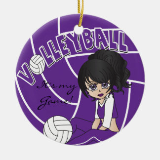 Purple Girly Volleyball Ornaments