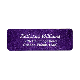 Purple Glam Faux Glitter Return Address Label