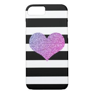 Purple Glam Heart Black/White Stripe iPhone 7 Case