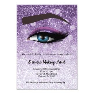 Purple  glam lashes eyes | makeup artist card