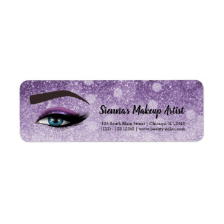 Purple glam lashes eyes | makeup artist return address label