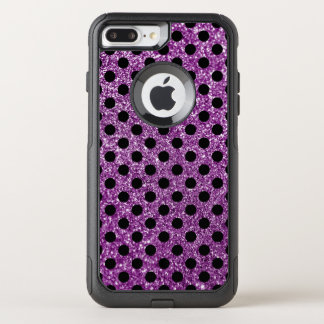 Purple Glitter and Black Polka Dot OtterBox Commuter iPhone 8 Plus/7 Plus Case
