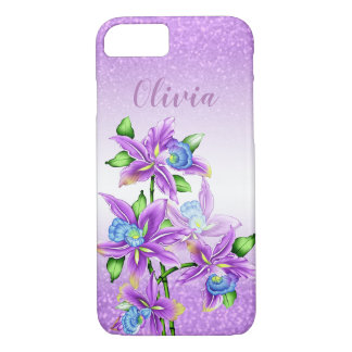 Purple Glitter and Purple Flowers iPhone 8/7 Case