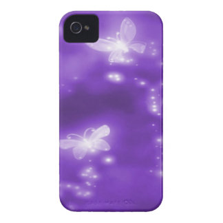 Purple , Glitter and  White Butterflies iPhone 4 Cover