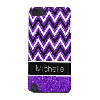 Purple Glitter Black Chevron 5G iPod Touch Case