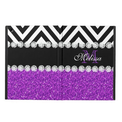 PURPLE GLITTER BLACK CHEVRON MONOGRAMMED iPad AIR CASES