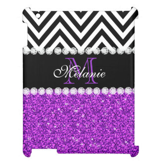 PURPLE GLITTER BLACK CHEVRON MONOGRAMMED iPad COVERS