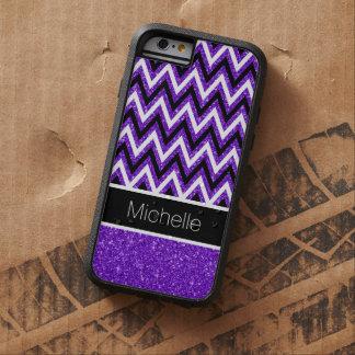 Purple Glitter Black Chevron Xtreme iPhone 6 Case