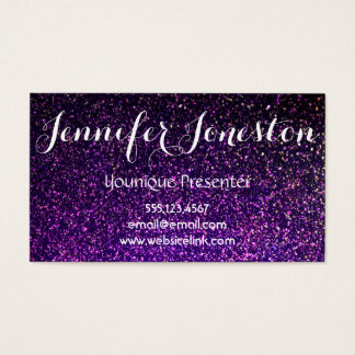 purple glitter business cards, presenter cards