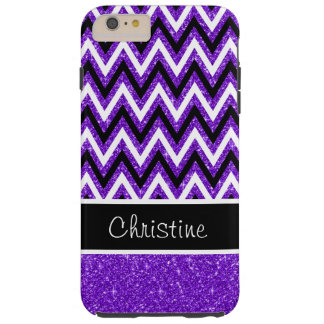 Purple Glitter Chevron Tough iPhone 6 Plus Case