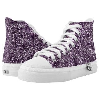 Purple Glitter Confetti Printed Shoes