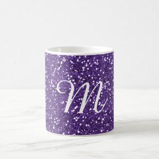 Purple Glitter Custom Monogrammed Coffee Mug