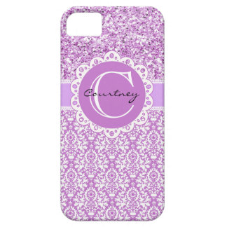 Purple Glitter & Damask w/Name & Initial Cover