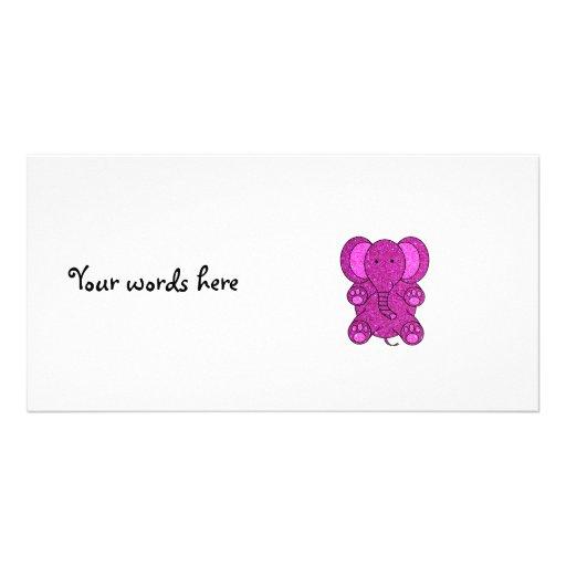 Purple glitter elephant custom photo card