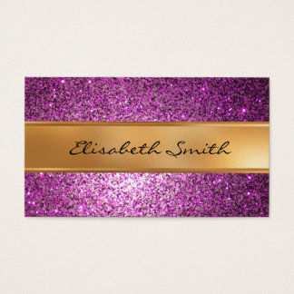 Purple Glitter, faux gold foil Business Card