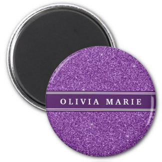 Purple Glitter faux Personalized Name Magnets