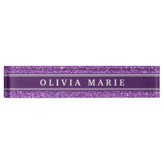 Purple Glitter (faux) Personalized Name Name Plate