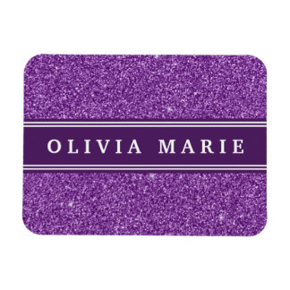 Purple Glitter faux Personalized Name Rectangle Magnet