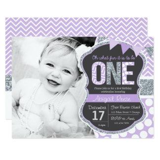 Purple Glitter First Birthday Invitation