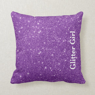 Purple Glitter Girl Show Your Glamours Sparkle Cushion