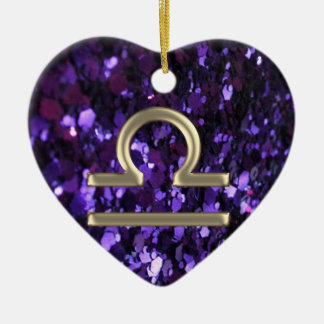 Purple Glitter Gold Zodiac Sign Libra Ornament