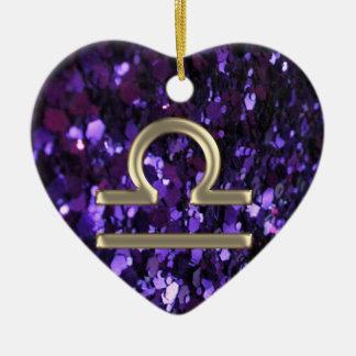 Purple Glitter Gold Zodiac Sign Libra Ornament