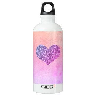 Purple Glitter Heart Watercolor SIGG Water Bottle