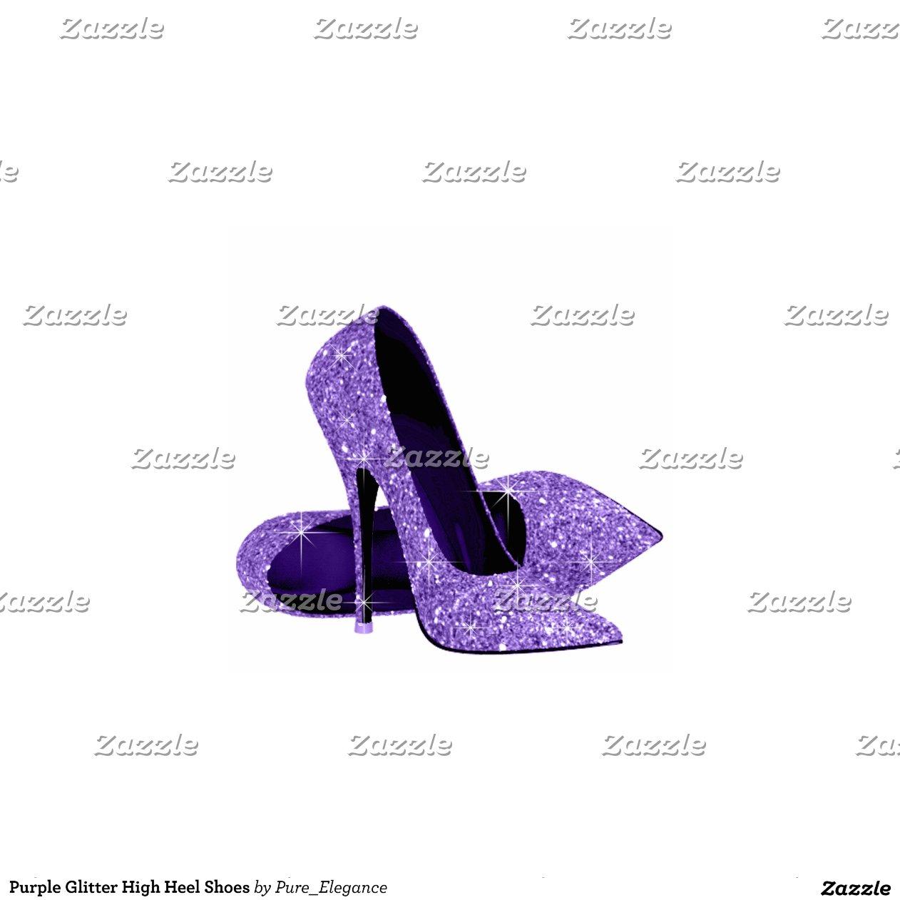 Purple Glitter High Heel Shoes Zazzle