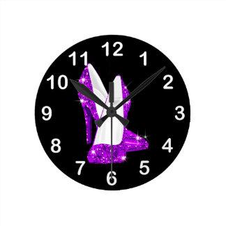 Purple Glitter High Heel Shoes Stilleto Round Clock