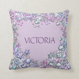 Purple Glitter Jewels Baby Throw Pillow - Heart