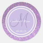 Purple Glitter & Lavender Wedding Monogram Round Sticker