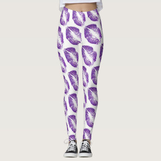 Purple Glitter Lips Modern White Leggings