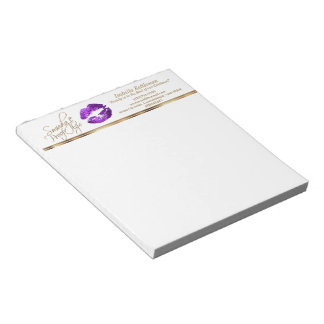Purple Glitter Lips Notepad